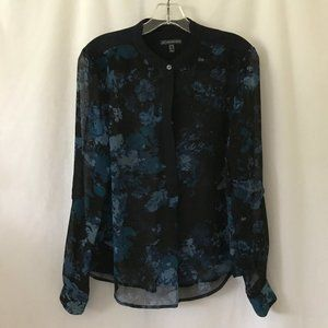 Adrianna Papell Black & Blue Floral Blouse